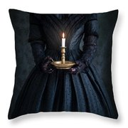 Woman In A Victorian Mourning Dress Holding A Candle Throw Pillow
