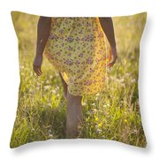 Woman In A Yellow Flowery Dress Walking In A Summer Meadow Throw Pillow