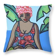 Woman In Bathing Suit 4 Throw Pillow