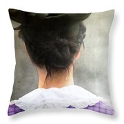 Woman In Black Hat Throw Pillow