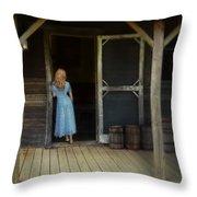 Woman In Cabin Doorway Throw Pillow