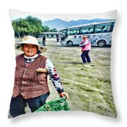 Woman In China Throw Pillow