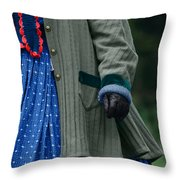 Woman In Civil War Period Clothing Throw Pillow