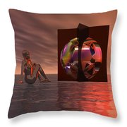 Woman In Contemplation Nude Throw Pillow