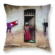 Woman In Front Of The House Democratic Throw Pillow