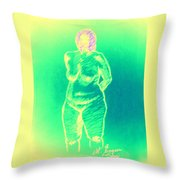 Woman In Green Throw Pillow