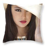 Woman In Hat Throw Pillow