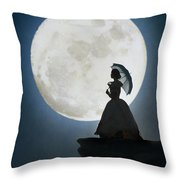 Woman In Historical Clothing On A Cliff With Full Moon Throw Pillow