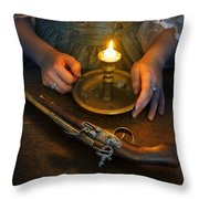 Woman In Historical Gown With Candle And Flintlock Pistol Throw Pillow