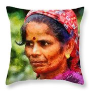 Woman In India Throw Pillow