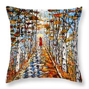 Woman In Red In Fall Rainy Day Throw Pillow
