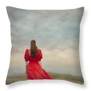 Woman In Red On Moorland Throw Pillow