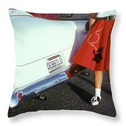 Woman In Red Poodle Skirt And Saddle Throw Pillow