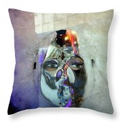 Woman In Silver Mask Throw Pillow