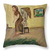 Woman In The Art Gallery Throw Pillow