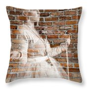 Woman In The Bricks Throw Pillow