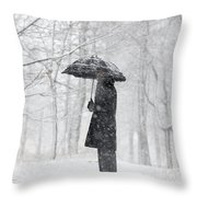 Woman In The Forest With An Umbrella Throw Pillow