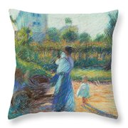 Woman In The Garden Throw Pillow