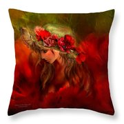 Woman In The Poppy Hat Throw Pillow