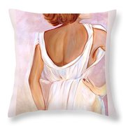 Woman In White Throw Pillow