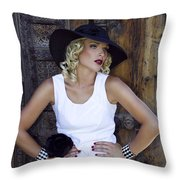 Woman In White Palm Springs Throw Pillow