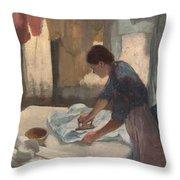 Woman Ironing Throw Pillow