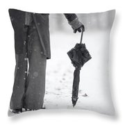 Woman Leaning On An Umbrella Throw Pillow