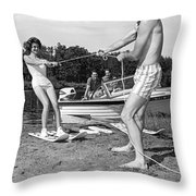 Woman Learning To Water Ski Throw Pillow