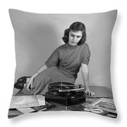 Woman Listening To Records Throw Pillow
