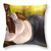 Woman Lying Down In Jeans Throw Pillow