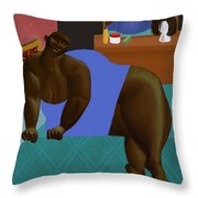Woman Lying On Turquoise Bed Throw Pillow