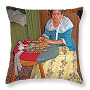 Woman Making Lace In Louisbourg Living History Museum-1744-ns Throw Pillow