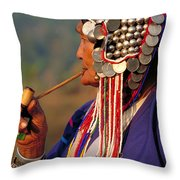 Akha Hill Tribe Woman  Thailand Throw Pillow