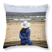 Woman On A Bench Throw Pillow