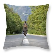 Woman On A Road Throw Pillow