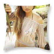 Woman On Hawaiian Beach Throw Pillow