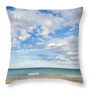 Woman On Manly Beach In Sydney Australia Throw Pillow