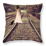 Woman On Railway Line Throw Pillow