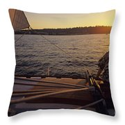 Woman On Sailboat Sunset Throw Pillow
