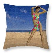 Woman On The Beach... Throw Pillow