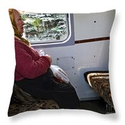 Woman On Train - Budapest Throw Pillow