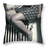 Woman On Window Sill Throw Pillow