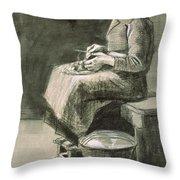 Woman Peeling Potatoes, 1882 Throw Pillow