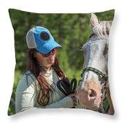 Woman Pets A Horse Throw Pillow