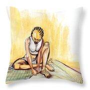 Woman Plaiting Mats In Rwanda Throw Pillow