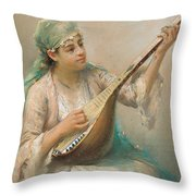 Woman Playing A String Instrument Throw Pillow