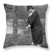 Woman Ready To Play Golf Throw Pillow