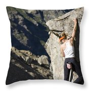 Woman Rock Climbing, India Throw Pillow