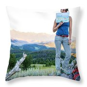 Woman Shows Off Her Mountain Drawing Throw Pillow