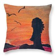 Woman Silhouette On The Beach - Kid's Painting Throw Pillow
